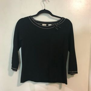 Emma James Embroidered Trim Sweater